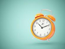 3D Rendering Orange Alarm Clock Isolated On Green Background