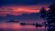 war ship sunset, Beautiful sunset on the beach, Sunset lake landscape
