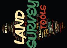 LAND SURVEY TOOLS Text Background Word Cloud Concept