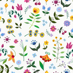 Vintage seamless pattern with abstract fancy flowers.