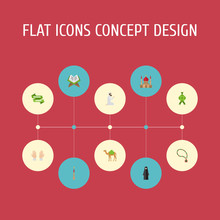 Flat Icons Minaret, Palm, Dromedary And Other Vector Elements. Set Of Religion Flat Icons Symbols Also Includes Prayer, Book, Woman Objects.