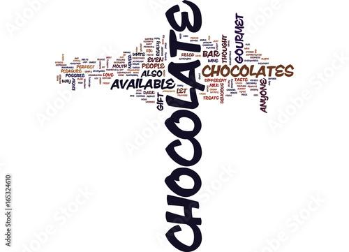 Fotografie, Obraz  GOURMET CHOCOLATES Text Background Word Cloud Concept