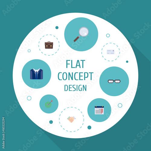 Fotografía  Flat Icons Calendar, Goal, Portfolio And Other Vector Elements
