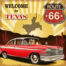 Welcome To Texas Retro Poster