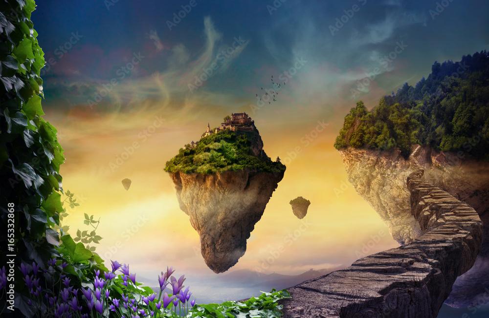 Fototapety, obrazy: Fantasy world with floating islands