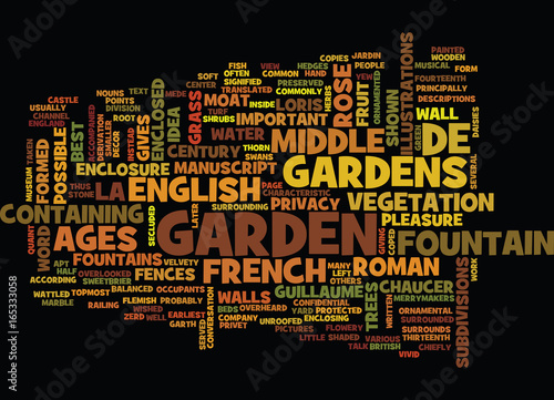 FRENCH AND ENGLISH GARDENS OF THE MIDDLE AGES Text Background Word Cloud Concept Canvas Print