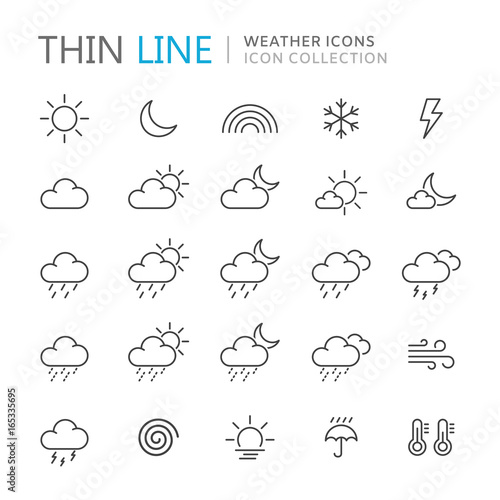 Obraz na plátne  Collection of weather thin line icons.