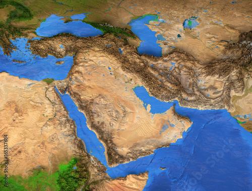 Fényképezés  Middle East - Gulf region. High resolution map