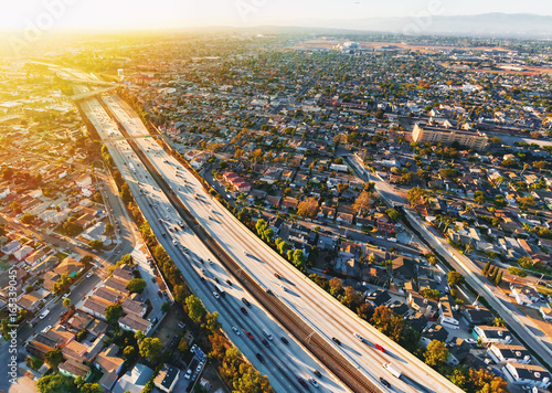 In de dag Luchtfoto Aerial view of traffic on a highway in Los Angeles, CA