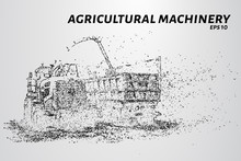 Agricultural Machinery From Particles. Agricultural Equipment Consists Of Dots And Circles. Vector Illustration