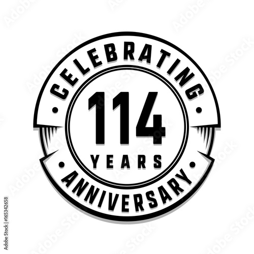 Poster  114 years anniversary logo template. Vector and illustration.