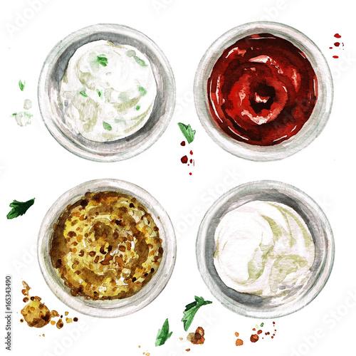 Canvas Prints Watercolor Illustrations Ketchup, mayonnaise, ranch and mustard. Watercolor Illustration.