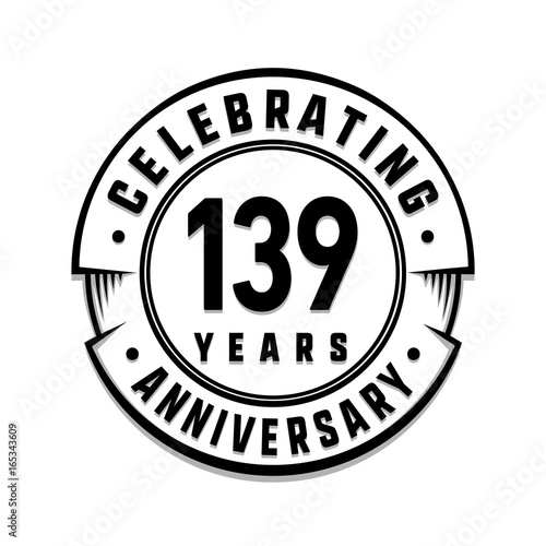 139 years anniversary logo template vector and illustration buy