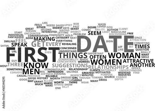 Fotografie, Obraz  FIRST DATE MAGIC FOR WOMEN Text Background Word Cloud Concept