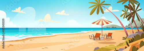 Fototapeta Summer Vacation Loungers On Sea Beach Landscape Beautiful Seascape Banner Seaside Holiday Vector Illustration obraz