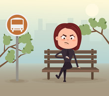 Angry Nervous Business Woman Office Worker Character Waiting Late Bus Look At Watch And Sitting On Station. Vector Flat Cartoon Illustration