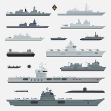 Military Weapons Of Navy Battleship. Vector Illustration.