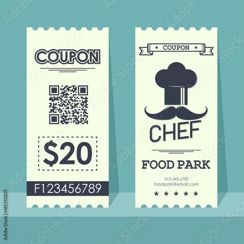 Food Park Coupon Ticket Element Template Vertical Vintage Design