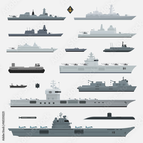 Military weapons of navy battleship. Vector illustration. Fototapet