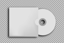 Vector Realistic Isolated CD Disk For Decoration And Covering On The Transparent Background. White Blank Template For Design.