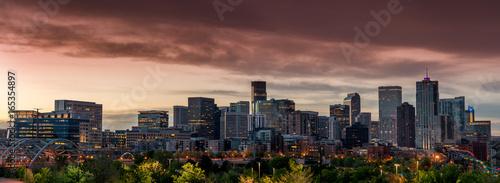 Orange sky over the morning of Denver Colorado