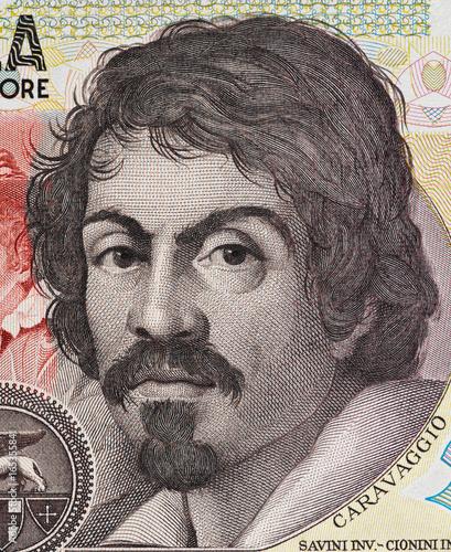 Fotografie, Obraz Caravaggio portrait on 100000 italian lire banknote closeup macro