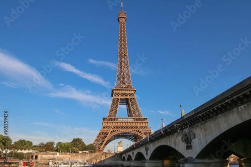 Papiers peints Paris The famous Eiffel Tower and Iena bridge ,Paris, France.