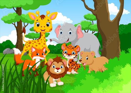 Wall Murals Ranch Cartoon wild animal in the jungle