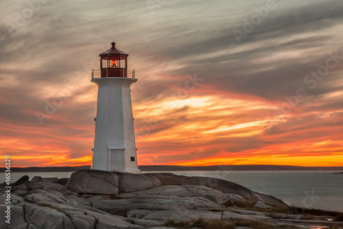 Sunset at the Lighthouse at Peggy's Cove near Halifax, Nova Scotia