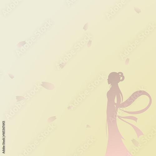 Fotobehang Zwavel geel Beauty And Flowers Background, Sakura Petals