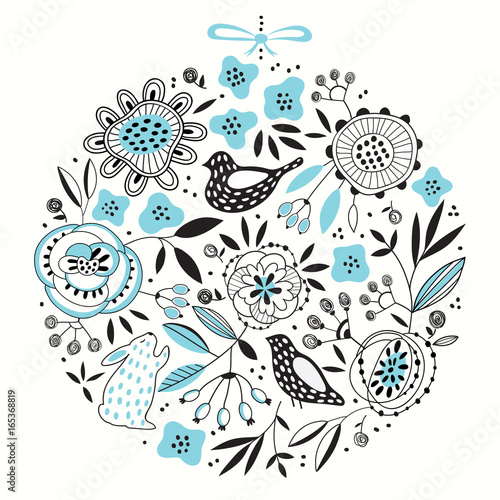 Cute round vector floral pattern