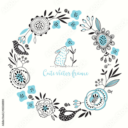 Round floral vector frame