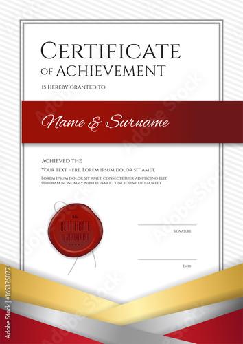 Portrait Luxury Certificate Template With Elegant Golden Border Frame Diploma Design For Graduation Or Completion