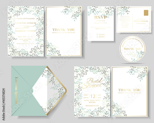 Foto Set of botanical leaves wreath wedding invitation card