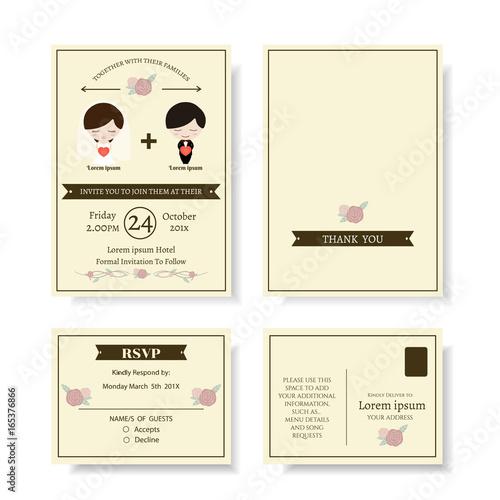 Set Of Cute Couple Cartoon Wedding Invitation Card Modern
