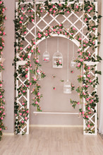 Shabby Chic White Decorating With Beautiful Vintage Birdcage And Flowers