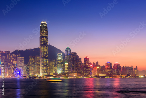 Hong Kong cityscape at twilight, Victoria harbour view Canvas Print