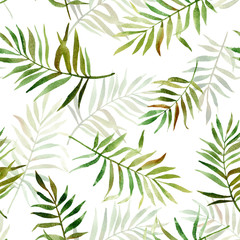 Fototapeta Seamless pattern with watercolor tropical leaves. Illustration can be used for gift wrapping, background of web pages, as a print for any printing products.