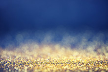 Glamourous Luxury Golden And Blue Bokeh Background