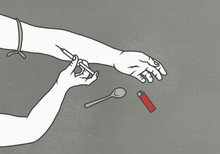 Cropped Image Of Man Injecting...