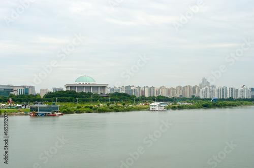 Hangang river in Seoul in summer in Korea Poster