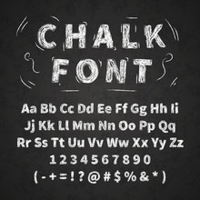 Set Of Retro Hand Drawn Alphabet Letters Drawing With White Chalk On Chalkboard