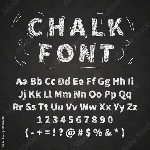 Leinwand Poster Set of retro hand drawn alphabet letters drawing with white chalk on chalkboard