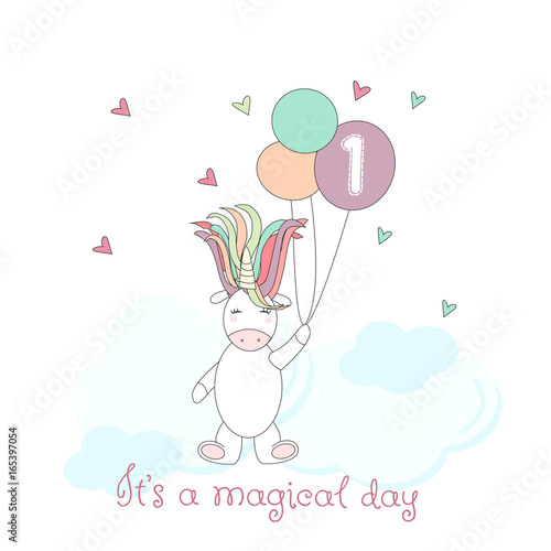 Foto op Canvas Regenboog Hand drawn unicorn for cards, baby shower invitations, t-shirts, in vector
