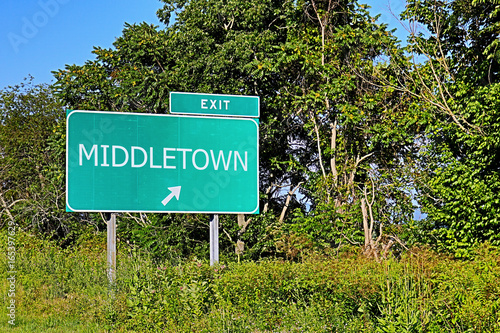 Photo  US Highway Exit Sign For Middletown