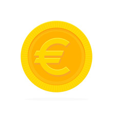 Gold Euro Coin In Flat Style. ...