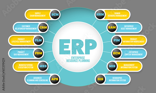 Fotografie, Obraz  Vector info graphic with theme of erp system
