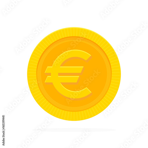 Fotografía Gold euro coin in flat style. Vector illustration