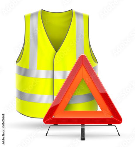 Cuadros en Lienzo Triangle de signalisation et gilet de sécurité vectoriels 1