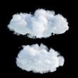 Leinwandbild Motiv 3d render, digital illustration, realistic clouds isolated on black background